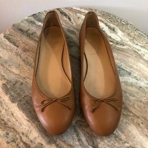 J Crew ballet flats size 7 camel tan leather